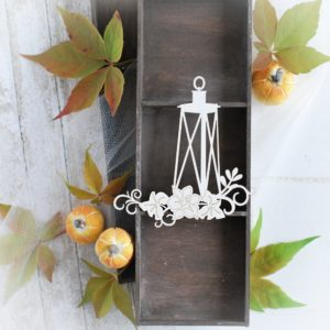 autumn halloween collection lantern with flowers decorative laser cut chipboard