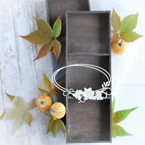 autumn halloween collection oval frame with flower composition decorative laser cut chipboard
