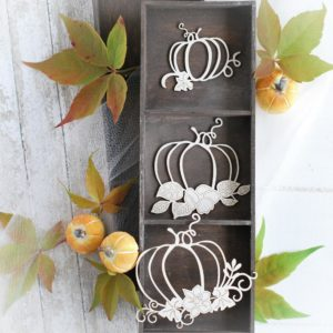 autumn halloween collection set of 3 pumpkins with flower composition decorative laser cut chipboards