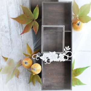 autumn halloween collection rectangle frame with flower composition decorative laser cut chipboards