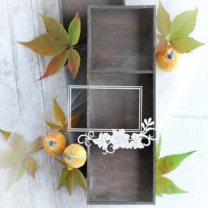 autumn halloween collection rectangle frame with flowers decorative laser cut chipboard