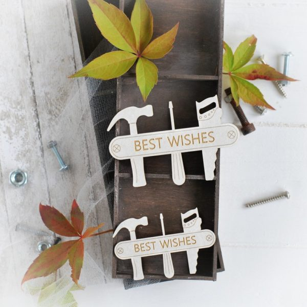 masculine collection best wishes label with tools decorative laser cut chipboards