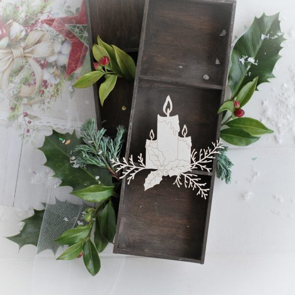 christmas collection candles with holly leaves and winter branches decorative laser cut chipboard