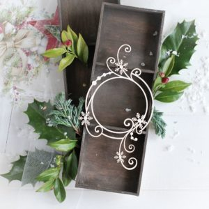 christmas collection frame with swirls and snowflakes decorative laser cut chipboard