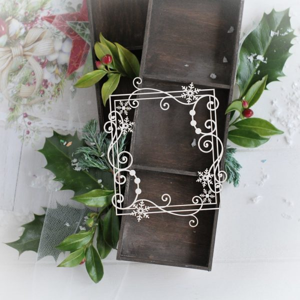 christmas collection rectangle frame with swirls and snowflakes decorative laser cut chipboard