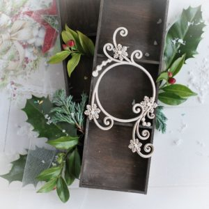 christmas collection 2d frame with swirls and snowflakes decorative laser cut chipboard