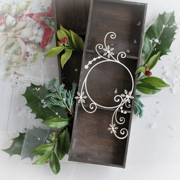 christmas collection frame with snowfalkes and swirls decorative laser cut chipboard