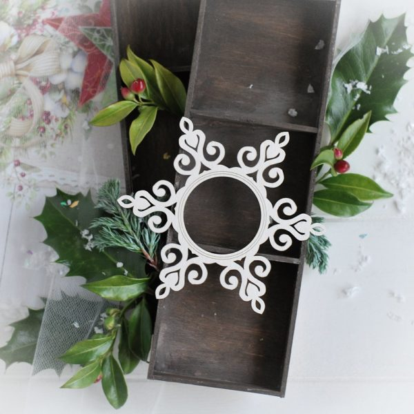 christmas collection snowflake frame decorative laser cut chipboard