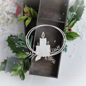 christmas collection frame with candles and branches decorative laser cut chipboard