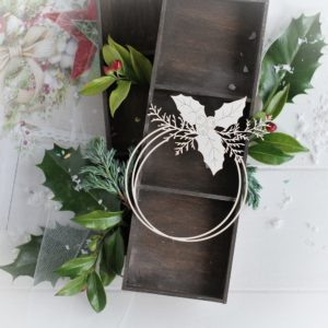 christmas collection frame with winter branches and holly leaves decorative laser cut chipboard