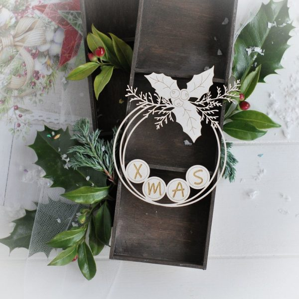 christmas collection xmas frame with winter branches and holly leaves decorative laser cut chipboard
