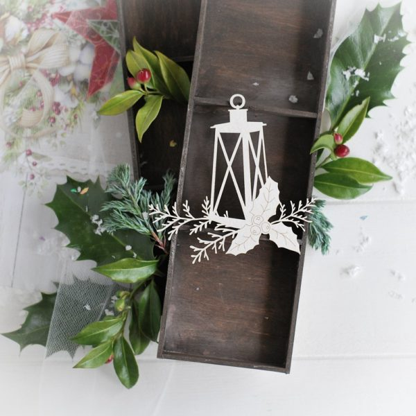 christmas collection lantern with winter branches and holly leaves decorative laser cut chipboard