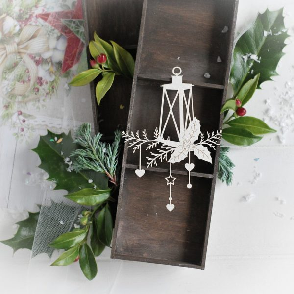 christmas collection lantern with winter branches and holly leaves and star and hearts decorative laser cut chipboard