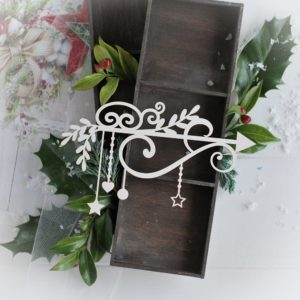 christmas collection large corner with swirls branches stars bauble and heart decorative laser cut chipboard