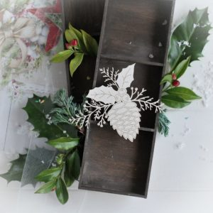christmas collection large pine cone with holly leaves and winter branches decorative laser cut chipboard