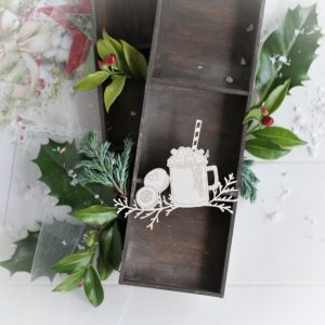 christmas collection milkshake and cookies with winter branches decorative laser cut chipboard