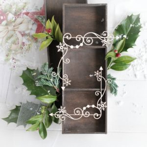 christmas collection set of two corners with swirls and snowflakes decorative laser cut chipboards