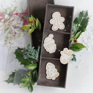 christmas collection set of gingerbread man santa christmas tree and deer decorative laser cut chipboard elements