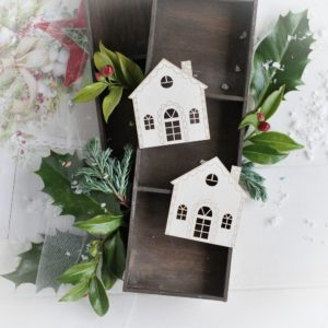 christmas collection set of two gingerbread house decorative laser cut chipboard