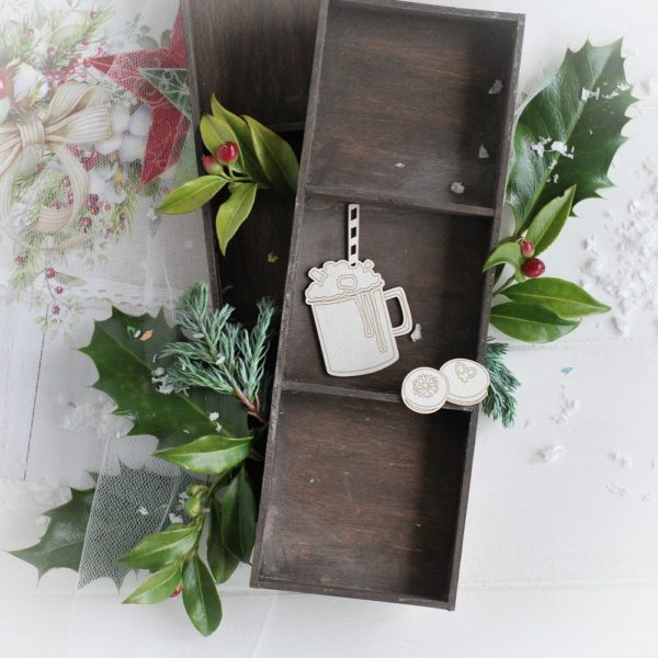 christmas collection set of milkshake and cookies decorative laser cut chipboards
