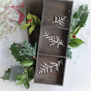 christmas collection set of tree winter branches decorative laser cut chipboards
