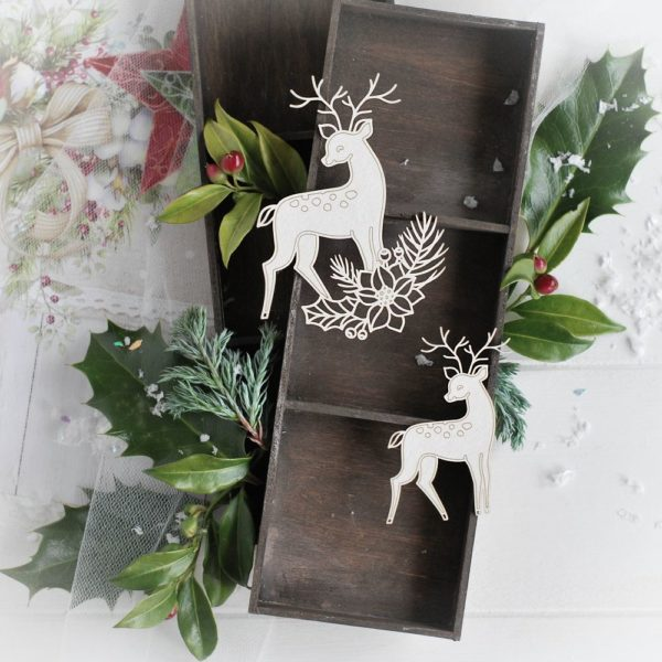 christmas collection set of two deer decorative laser cut chipboard