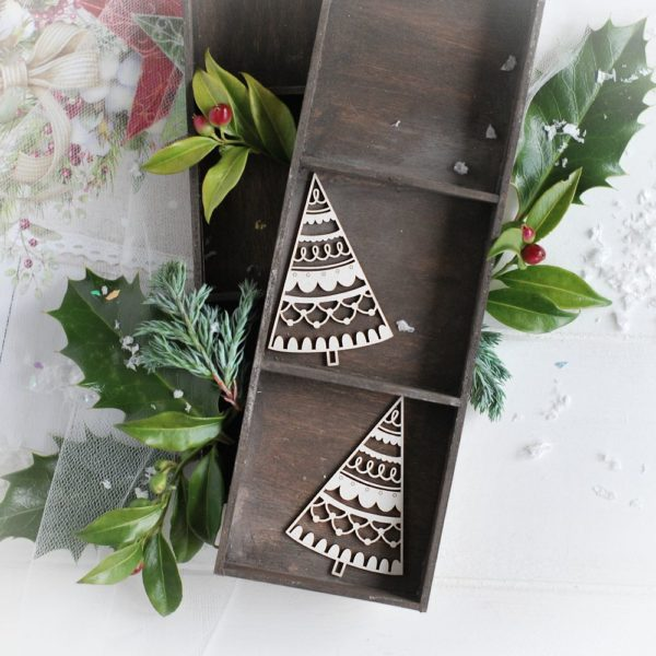christmas collection set of two christmas trees decorative laser cut chipboards