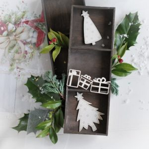 christmas collection set of christmas trees and presents decorative laser cut chipboards