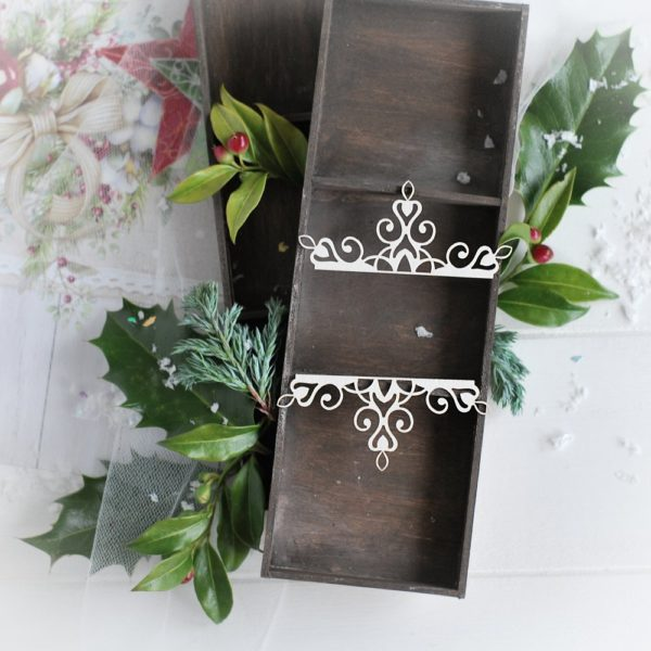 christmas collection set of two small ornaments decorative laser cut chipboards