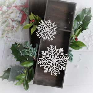 christmas collection set of two snowflakes decorative laser cut chipboards