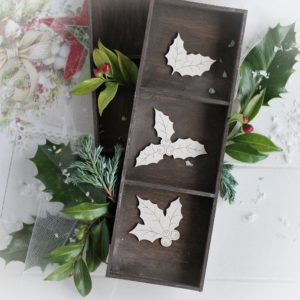 christmas collection holly branches set decorative laser cut chipboards
