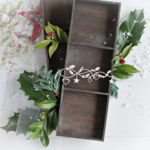 christmas collection small border with hearts stars and holly leaves decorative laser cut chipboard