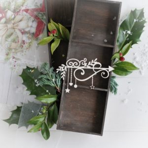 christmas collection small corner with swirls branches stars heart and bauble decorative laser cut chipboard