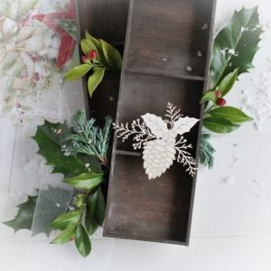 christmas collection small pine cone with winter branches and holly leaves decorative laser cut chipboard