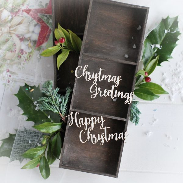 christmas collection word set happy christmas and christmas greetings decorative laser cut chipboards