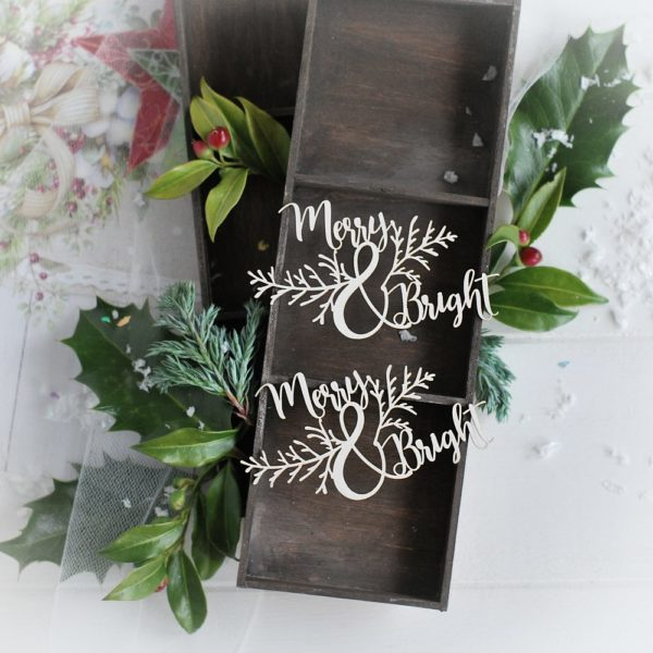christmas collection word set merry & bright decorative laser cut chipboards