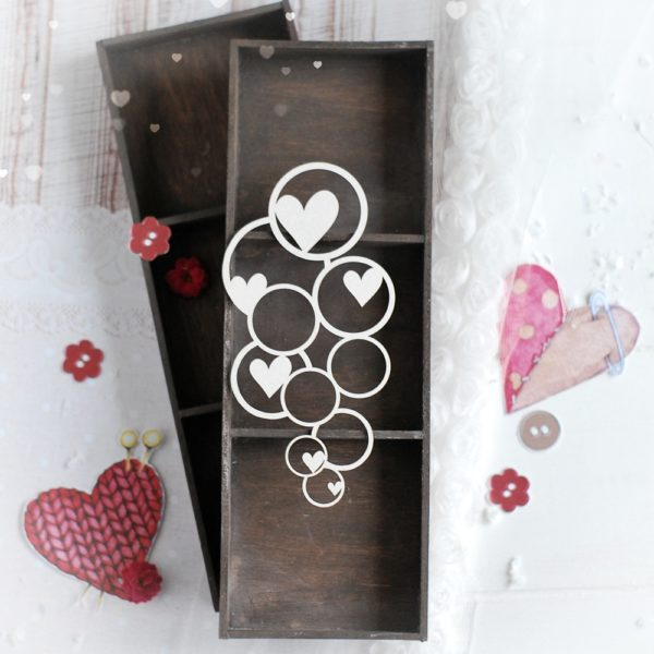 decorative laser cut chipboard bubbles with hearts background