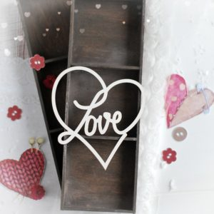 large love heart decorative laser cut chipboard