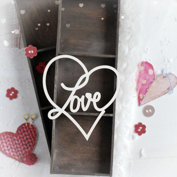 large love heart decorative laser cut chipboard