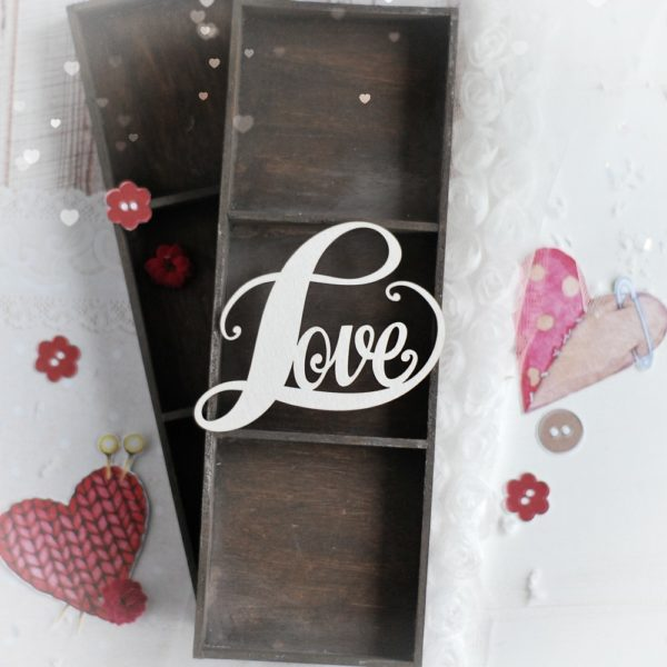 large love decorative laser cut chipboard word