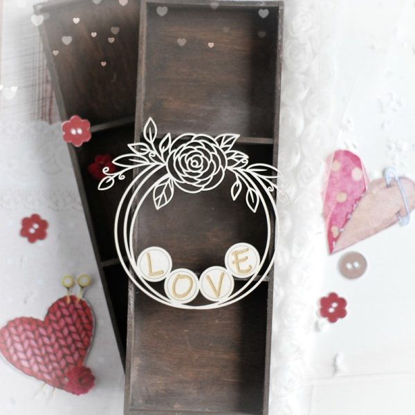 love decorative laser cut chipboard wreath frame with floral arrangements