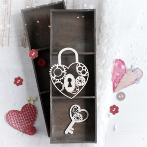 decorative laser cut chipboard steampunk heart padlock and key