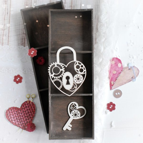decorative laser cut chipboard steampunk heart padlock and key