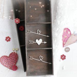 love arrows decorative laser cut chipboard set