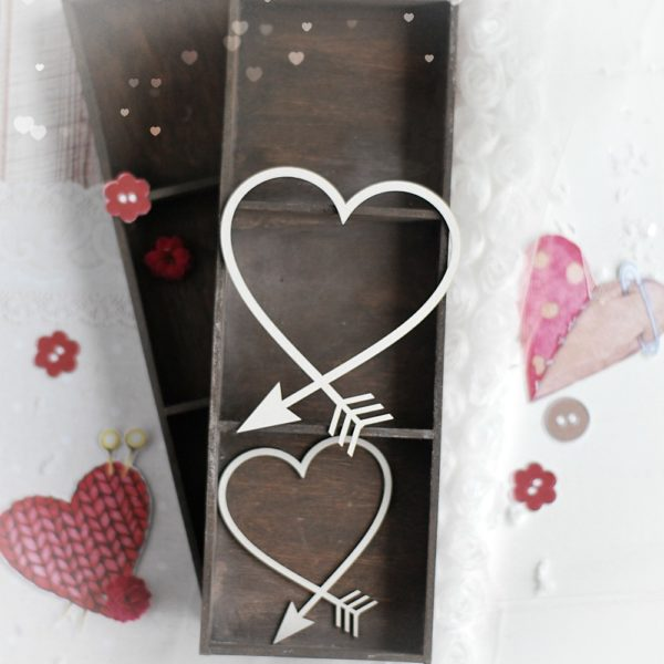 set of two arrow hearts decorative laser cut chipboards