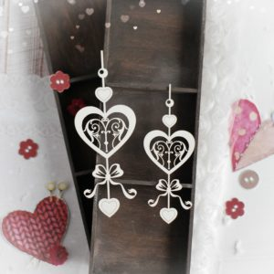 set of two hearts with bow and ornament decorative laser cut chipboards