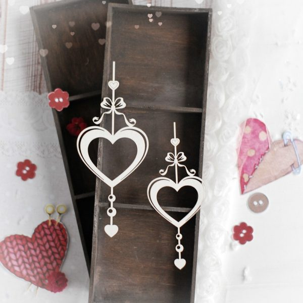 set of two hearts decorative laser cut chipboard elements