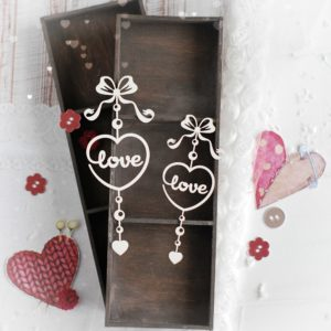 set of two love hearts with love decorative laser cut chipboards