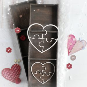 set of two puzzle hearts decorative laser cut chipboards
