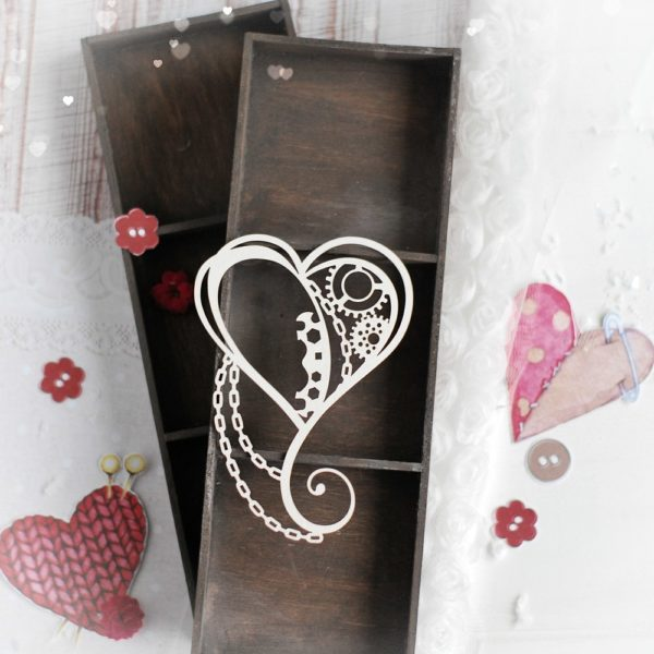 steampunk heart with chain decorative laser cut chipboards